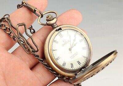 Rare Chinese Copper Pocket Watch Pendant Mechanized Handicraft Collection Gift