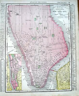 1895 Southern New York City Antique Dated Atlas map* Brooklyn back ..124 yrs-old