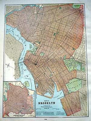 1892 Brooklyn, NY Antique Color Atlas map^127 years-old  Stained Upper Corner