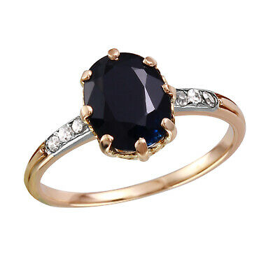 14KT Rose Gold Sapphire and Diamond Ring