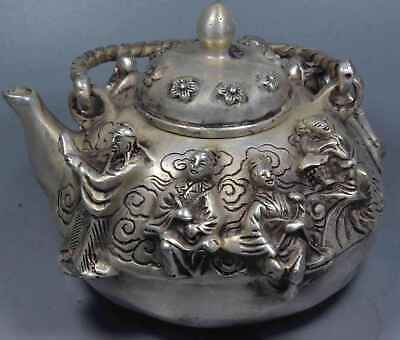 Collection Handwork Old Miao SIlver Carve 8 Immortals Souvenir Exorcism Tea Pot