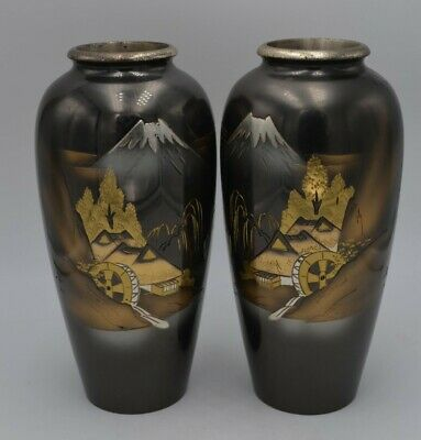 """Set of Two Maiji Style Chokin Mixed Metal Japanese Vases With Mountain&Mill 7"""""""