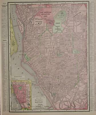 1901 Buffalo, NY Vintage Antique Dated Atlas Map* New Jersey back ..118 yrs-old!