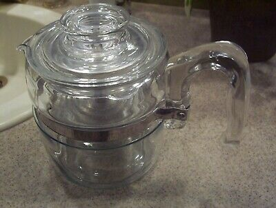 Excellent Condition Pyrex Flameware Coffee Pot Glass Stove 2-4 Cup Complete NICE