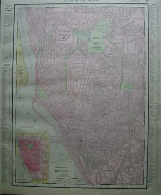 1895 Buffalo, NY Vintage Antique Dated Atlas Map* New Jersey back ..124 yrs-old!