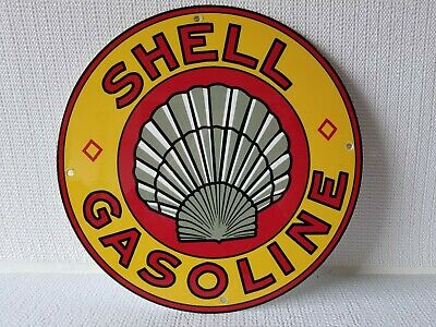 "Vintage Shell Clam Gasoline Advertising 11 3/4"" Porcelain Metal Gas & Oil Sign"