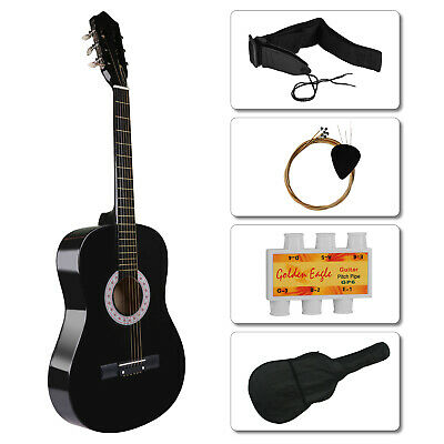 """Black Acoustic Classic Guitar 3/4 Size 39"""" + 4 Free Items Tuner+Strap+String+Bag"""