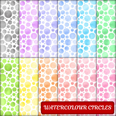 WATERCOLOUR CIRCLES SCRAPBOOK / CRAFT PAPER - 12 x A4 pages.