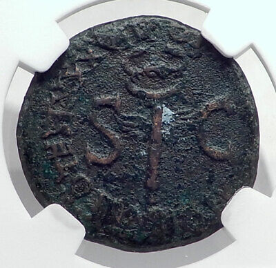 TIBERIUS Authentic Ancient 35AD Genuine Original Rome Roman Coin NGC i80911