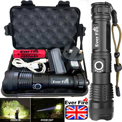 900000Lumens XHP50 Zoom Flashlight LED USB Rechargeable Torch Headlamp Fishing
