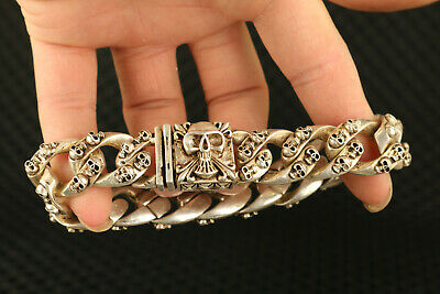 rare Asian old tibet silver hand carved cool skull head statue bracelet gift