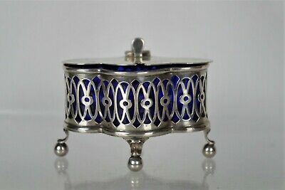 Fine Antique Silver Mustard Pot with Blue Glass Liner