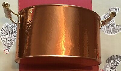 Vintage Large Planter Copper French Country Kitchen Brass Rose Ceramic Handles
