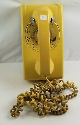 Rare Vintage Western Electric Bell System #554 Rotary Wall Telephone Yellow Htf