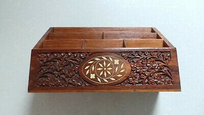 Wooden Carved Inlaid Letter Rack