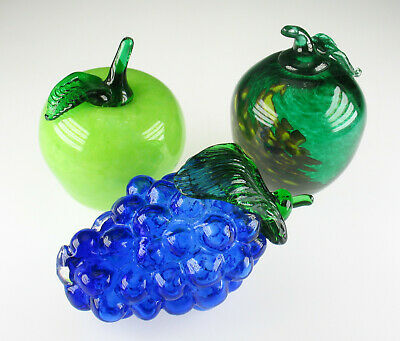 Glas Früchte Frucht Apfel Traube - art glass fruits apple grape figurine