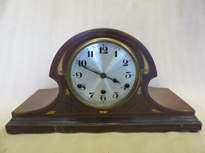 Vintage Mahogany And Inlaid 8 Day Napoleon Hat Westminster Mantel Clock For Tlc