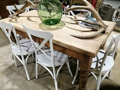 Antique Victorian Edwardian Farmhouse country Kitchen Pine Dining Table