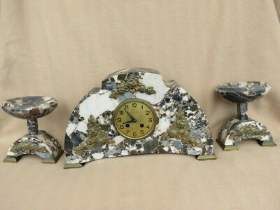 Large Antique French Marble Clock Garniture For Tlc