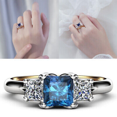 Elegant Women 925 Silver Rings Blue Sapphire Ring Wedding Charm Jewelry