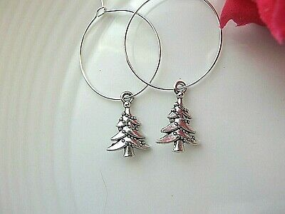 "Hoop Earrings CHRISTMAS TREE Decor Charm Small 1"" Silver plated  hoops"