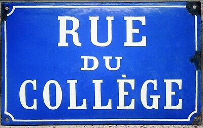 Old blue French enamel street sign plate name plaque School College Road Vienne