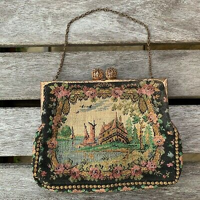 Victorian French Machine Tapestry Petit Point Style Evening Purse Coin Bag