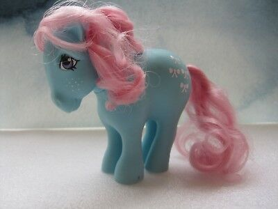 Vintage  Rare 1982 My Little Pony Mlp Blue Pony Bowtie G1 Pink Mane & Tail