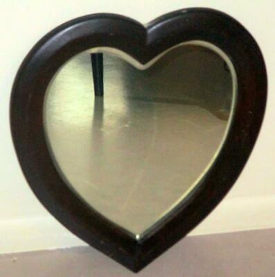 Antique Heart Shaped Wood Mirror With Beveled Glass