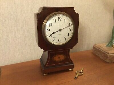 Old Inlaid Mantel Clock For Restoration Oldfields Ltd, Liverpool
