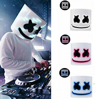DJ Full Head Mask MarshMello Helmet LED Cosplay Mask Bar Music Props Marshmallow