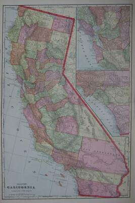 1902 California Large 2-page Color Atlas Map** Antique 117 years-old!!