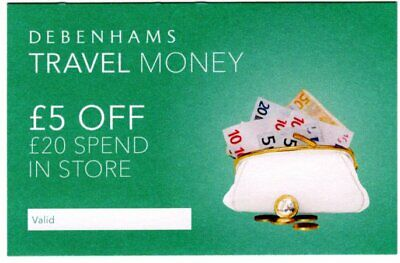 Debenhams Voucher - £5 off a £20 Spend in store - no expiry date.