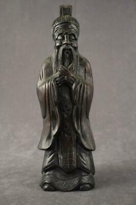 """Vintage Asian Art Wood Carving Chinese Scholar in Formal Robes 11.75"""" Tall"""