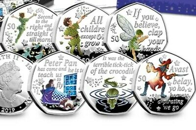 2019 Peter Pan 50P Fifty Pence 6 Coin Set Brilliant Uncirculated + Colour Decal