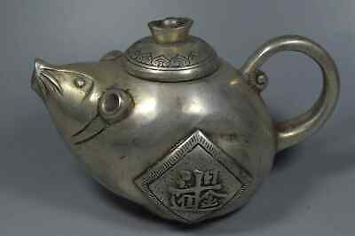 China Collectable Tibet Miao Silver Carve Zodiac Mice Harvest Auspicious Tea Pot