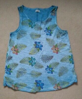 Girls New Next blue vest top age 8 years floral print