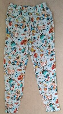 Girls Next blue green floral summer casual trousers age 11 years