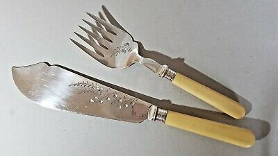 Vintage Silver Plated Fish Servers Fork & Slice - Weeping Florals Pattern