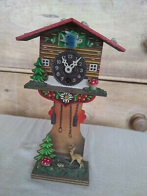 Small Vintage Wooden Cuckoo Clock 21cm highx11.5cm wide & 5.5cm spares/repair