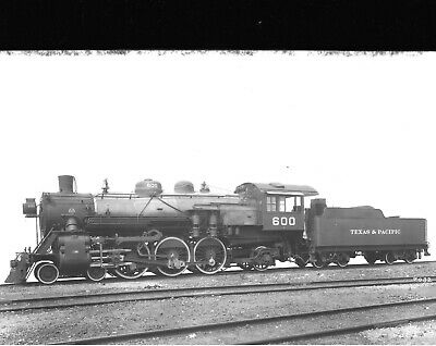 1900's Texas & Pacific Railroad Locomotive Black & White Photo