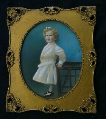 """Antique Victorian GOLD Gesso Frame, Glass Oval Center, TODDLER IN WHITE 26x22"""""""