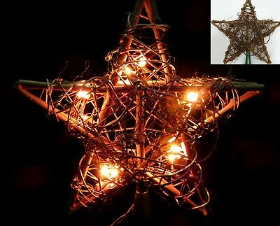 10 inch Lighted Grapevine Christmas Star Tree Topper Rustic Twig Country Forrest