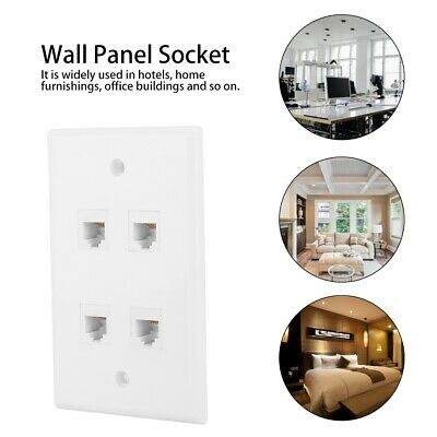 4 CAT3 Interfaces Wall Plate Panel Cable Faceplate Socket Adapter Connector