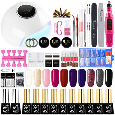 Kit Manucure Vernis Semi Permanent Gel Ponceuse à Ongle 24W Lampe Sticker Strass
