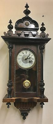 Antique Small Proportion Walnut And Ebony Victorian Vienna Clock