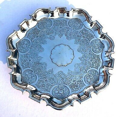 Antique SCOTTISH Solid Silver Salver Tray : EDINBURGH 1735 Edward Lothian