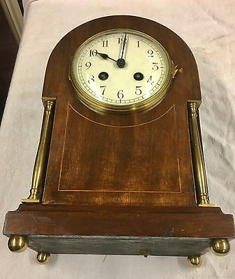 An Edwardian Mahogany Mantel Clock Brass Pillars Inlaid Satinwood Japy Freres