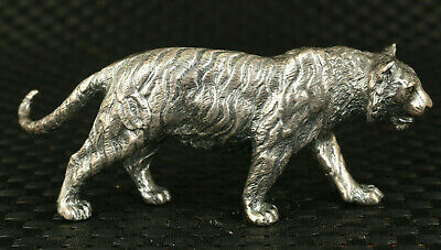 155g 999 pure silver Handcarved tiger Statue exquisite table decoration gift