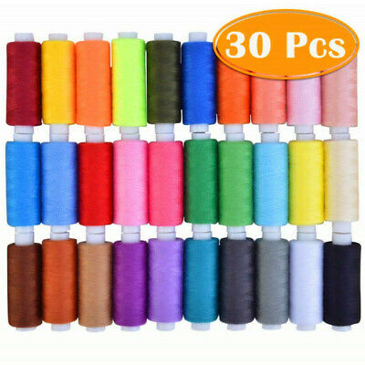 30 Spools Polyester Sewing Thread Mixed Color for Household Sewing Machine US